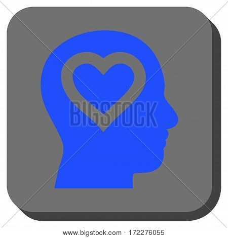 Love In Head interface toolbar icon. Vector pictogram style is a flat symbol on a rounded square button, blue and gray colors.