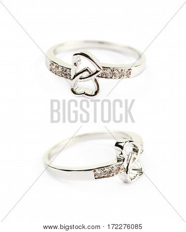 Wedding ring with the intertwined heart ornament isolated over the white background, set of two different foreshortenings