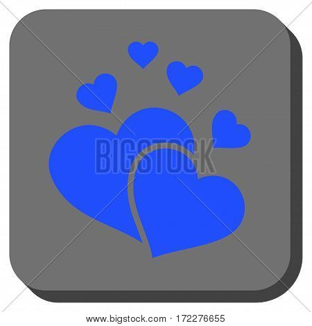 Lovely Hearts square icon. Vector pictograph style is a flat symbol inside a rounded square button, blue and gray colors.