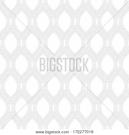 Seamless ornament. Modern geometric pattern with repeating ligt silver wavy lines