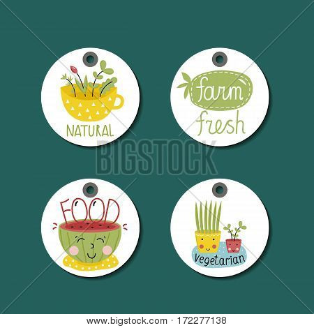 Eco and bio food round labels set in cartoon style isolated on green background. Locally grown natural farm products price tags. Natural eco friendly products. Vegetarian food diet.