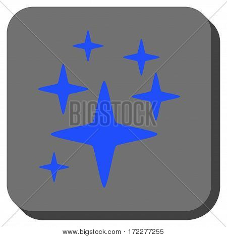 Sparkle Stars interface toolbar icon. Vector pictogram style is a flat symbol on a rounded square button, blue and gray colors.