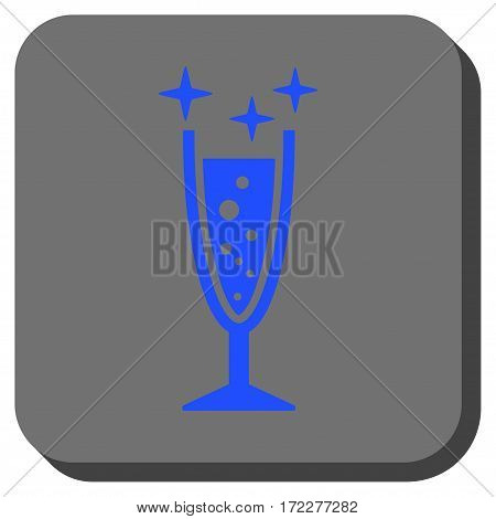 Sparkle Wine Glass interface toolbar icon. Vector pictograph style is a flat symbol inside a rounded square button, blue and gray colors.
