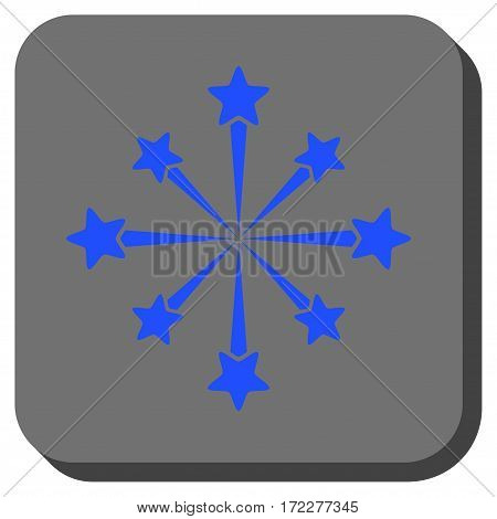Star Burst Fireworks square button. Vector pictograph style is a flat symbol inside a rounded square button, blue and gray colors.