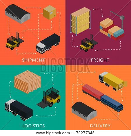 Freight shipment and delivery logistics isometric banners vector illustration. Forklift loading freight truck, warehouse building, cargo train icons. Global delivery transportation, shipping service