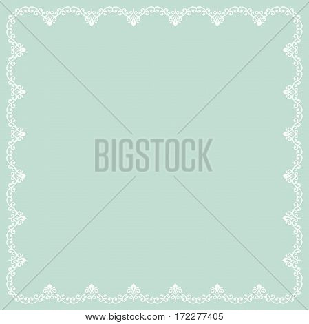 Classic square frame with arabesques and orient elements. Abstract fine ornament with place for text. Light blue and white pattern