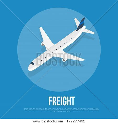 Delivery freight isometric vector illustration. Cargo jet airplane with shadow round icon. Worldwide logistics, delivery transportation, global freight airlines, shipping company, import and export