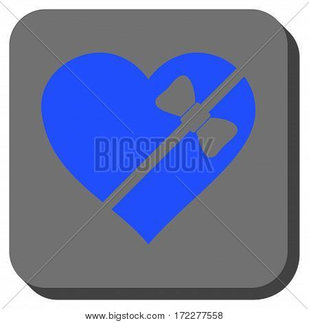 Tied Love Heart interface button. Vector pictograph style is a flat symbol in a rounded square button, blue and gray colors.