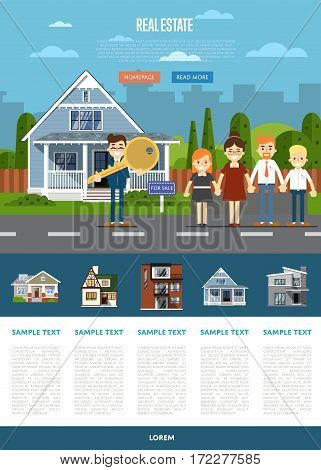 Real estate agent with big key and happy family near house vector illustration. Commercial background. Family dream home. Trading house. Advertising company, online business concept.
