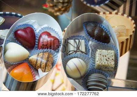 A gift Assorted chocolates praline in white box