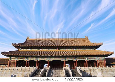 Image of Forbidden City with clear sky above the imperial palace in Beijing China