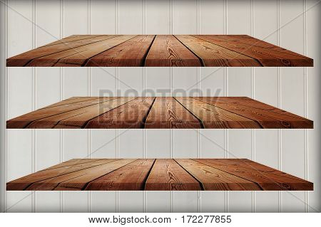 collection of wooden shelves on an white background