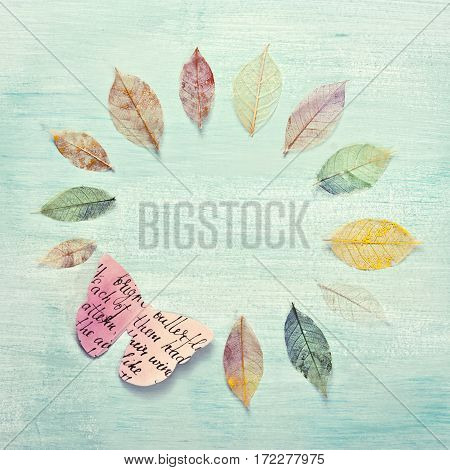 A square photo of a frame, made up by hand painted skeleton leaves and a paper butterfly on a teal background texture. A design for an autumn banner, with copyspace