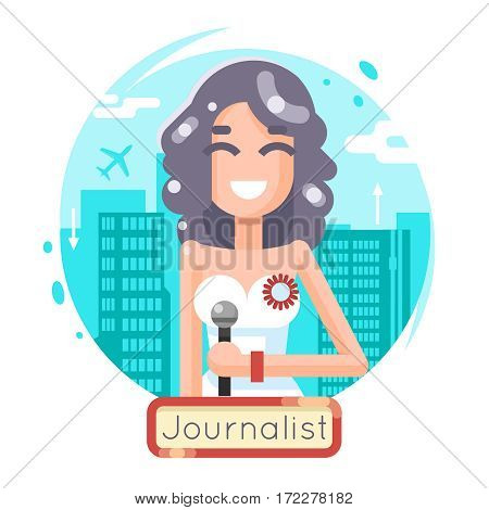 News Reporting Journalist Reporter Female Girl Character Mass Media Symbol City Background Flat Design Template Vector Illustration