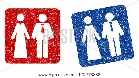 Newlyweds grunge textured icon. Rounded square with symbol shape hole. Flat style with dust texture. Blue and red variants. Corroded vector stamp with grainy design.