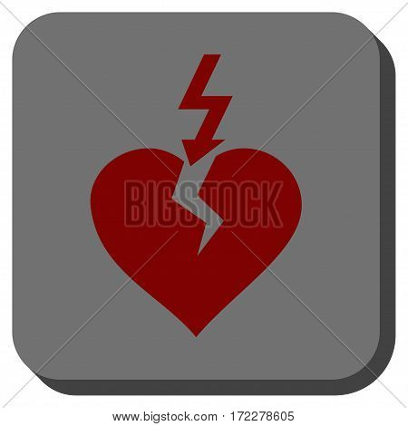 Break Heart square icon. Vector pictogram style is a flat symbol on a rounded square button, dark red and black colors.