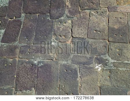 Ancient cobblestone floor of Khmer Temple complex in Phanom Rung Historical Park, Thailand