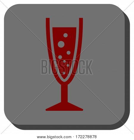 Champagne Glass interface toolbar button. Vector pictogram style is a flat symbol in a rounded square button, dark red and black colors.