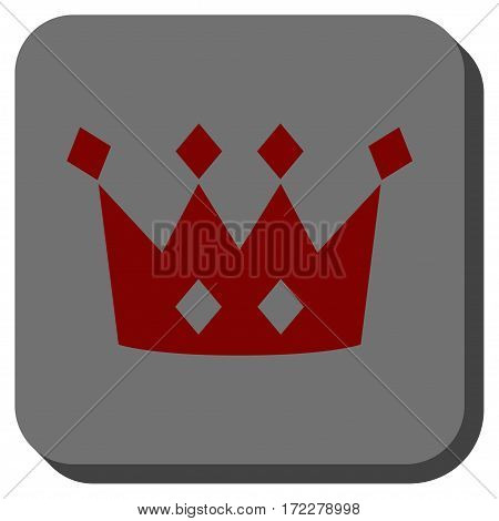 Crown interface icon. Vector pictogram style is a flat symbol on a rounded square button, dark red and black colors.