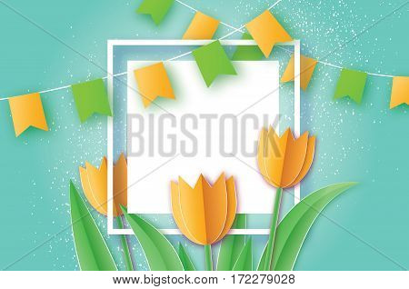 Yellow Tulips paper cut flower. 8 March Women's Day Greeting card. Origami Floral bouquet. Square Frame, flags and space for text. Happy Women's Day on blue background. Vector spring illustration
