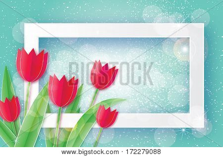Red Tulips paper cut flower. Women's Day Greeting card. Origami Floral bouquet. 8 March. Rectangle Frame, space for text. Happy Women's Day on blue background. Vector spring illustration