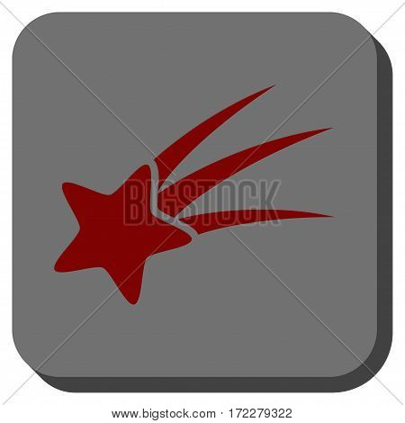 Falling Star rounded button. Vector pictograph style is a flat symbol centered in a rounded square button, dark red and black colors.