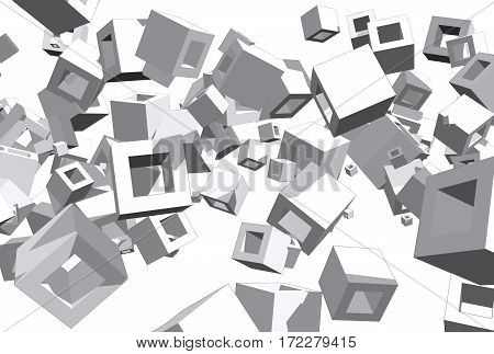 Abstract background from flying cubes. Grey toned. 3D rendering
