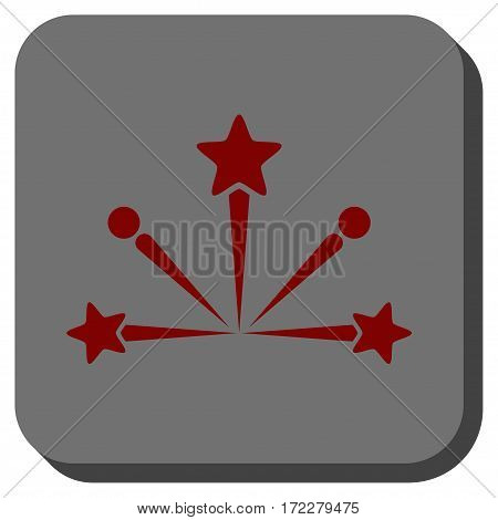 Fireworks Bang interface toolbar icon. Vector pictogram style is a flat symbol in a rounded square button, dark red and black colors.