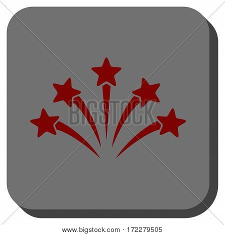 Fireworks Burst rounded icon. Vector pictogram style is a flat symbol on a rounded square button, dark red and black colors.