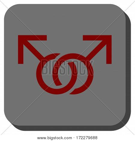 Gay Love Symbol rounded icon. Vector pictogram style is a flat symbol on a rounded square button, dark red and black colors.