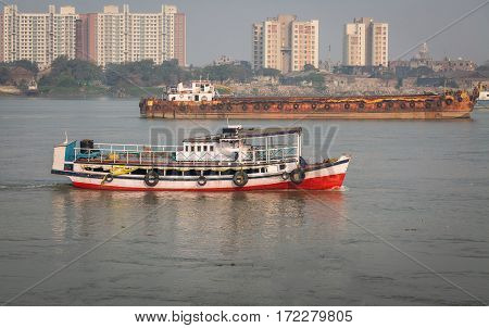 Public transport ferry service on the river Ganges at Kolkata.