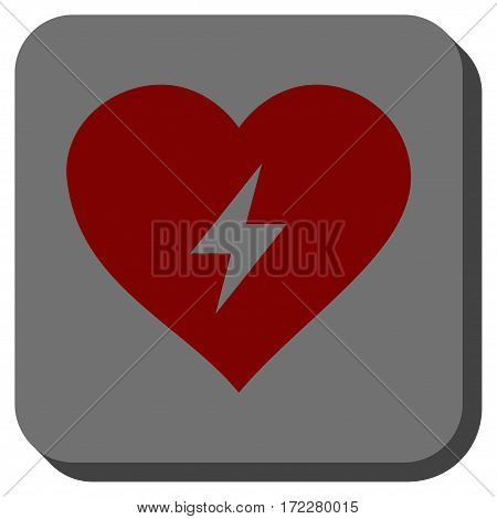 Heart Power toolbar button. Vector pictogram style is a flat symbol centered in a rounded square button, dark red and black colors.