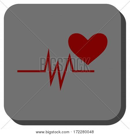 Heart Pulse Signal square button. Vector pictogram style is a flat symbol in a rounded square button, dark red and black colors.
