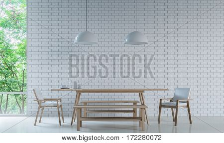 Modern white dining room Decorate Wall With white Brick 3D Rendering Image. Minimalist style white floor decorate wall with white Brick patternbasic Simple bright and clean There are large windows looking out to experience nature up close