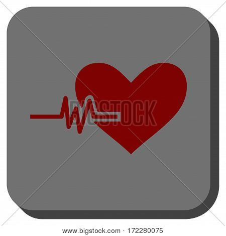 Heart Pulse interface button. Vector pictogram style is a flat symbol in a rounded square button, dark red and black colors.