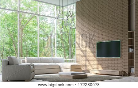 Modern Living room Decorate Wall With Brick 3D Rendering Image.Minimalist style white floor decorate wall with Brick patternbasic Simple bright and clean There are large windows looking out to experience nature up close