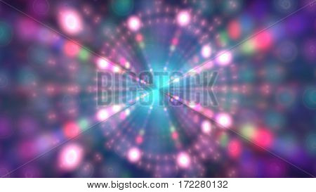 Glitter vintage lights background. Neon shine disco particles. Concentric circle. Ray light