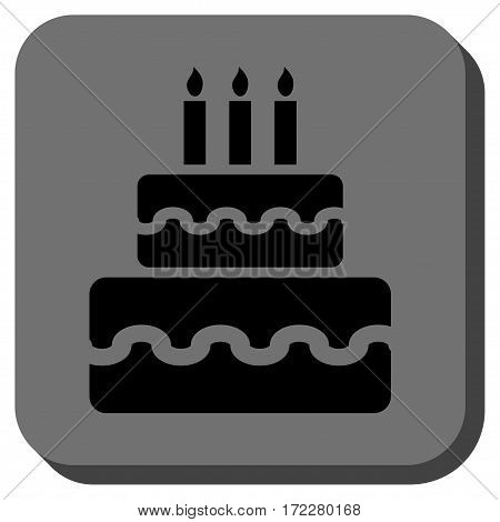 Birthday Cake interface toolbar icon. Vector pictogram style is a flat symbol in a rounded square button, black and gray colors.