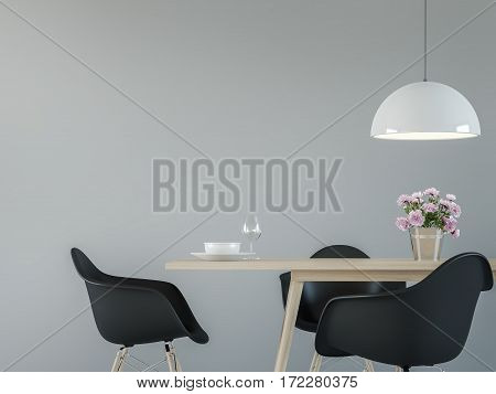 Modern dining room interior with black & white 3d rendering image.There are minimalist style Empty grey wallblack chair and wood desk