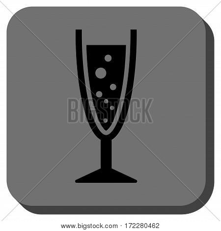 Champagne Glass interface toolbar button. Vector pictogram style is a flat symbol on a rounded square button, black and gray colors.