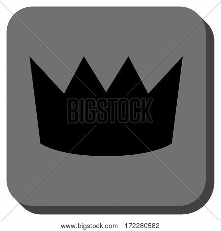 Crown interface toolbar button. Vector pictograph style is a flat symbol centered in a rounded square button, black and gray colors.