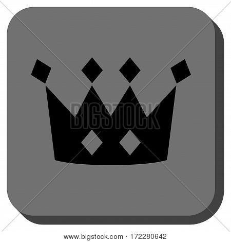 Crown interface toolbar icon. Vector pictogram style is a flat symbol in a rounded square button, black and gray colors.