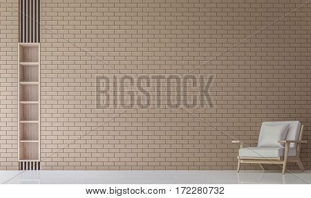Modern Living room Decorate Wall With Brick 3D Rendering Image.Minimalist style white floor decorate wall with Brick patternbasic Simple bright and clean