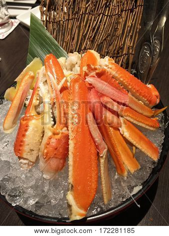 King Crab legs ready to eat in restaurant