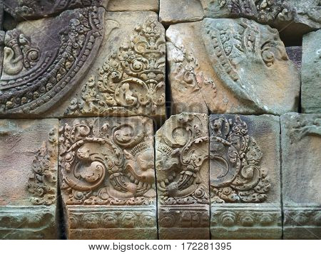 Gorgeous relief on the pediment of Prasat Hin Muang Tam, the ancient temple complex in Buriram, Thailand