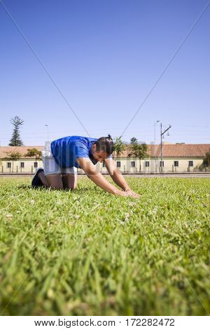 Young man exercising outdoor