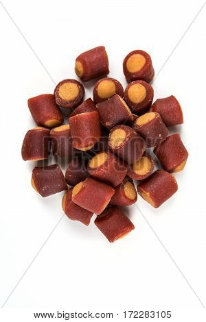 Meaty Filled Dog Treats Isolated On A White Background