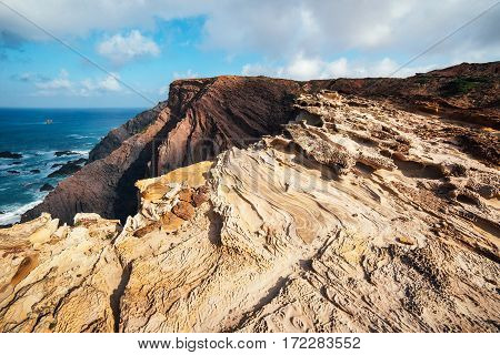 Rocks and Cliffs along the Coast of Lagos, Algarve, Portugal.