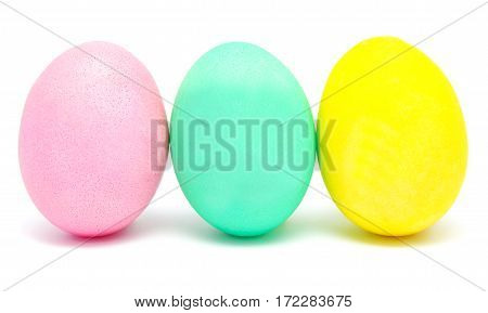 Colorful handmade decorated Easter eggs isolated on white
