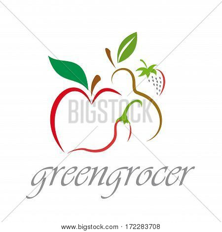 Vector sign Greengrocer, isolated illustration on white